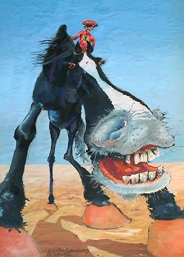 (Uli) Hans Ulrich Aschenborn, Jokey aus der Froschperspektive - Jockey as seen from very down below, Tiere: Land, Menschen: Mann, expressiver Realismus, Abstrakter Expressionismus