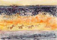(Uli)-Hans-Ulrich-Aschenborn-Tiere-Land-Landschaft-Ebene-Moderne-Impressionismus