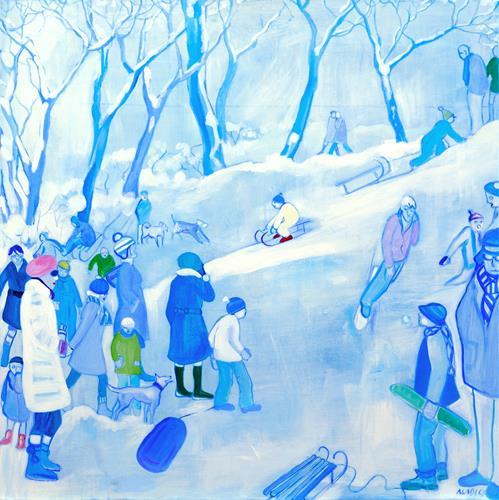 Monika Aladics, Wintergedicht / Winter Poem, Menschen: Gruppe, Landschaft: Winter, Gegenwartskunst