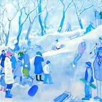 Monika-Aladics-Menschen-Gruppe-Landschaft-Winter-Gegenwartskunst-Gegenwartskunst