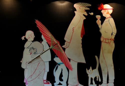 Monika Aladics, Spaziergänger, Menschen, Diverse Tiere, Gegenwartskunst, Abstrakter Expressionismus