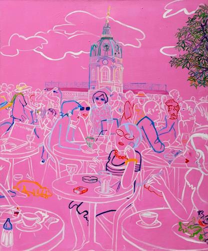 Monika Aladics, Sommer in Charlottenburg (Summer in Charlottenburg) Serie: Berliner & Potsdamer Geschichten, Menschen, Architektur, Gegenwartskunst