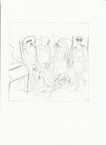 Monika Aladics, Tagträume (Daydreaming) / Serie im Grünen (Series: Outdoors), Menschen: Gruppe, Freizeit, Gegenwartskunst