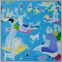 Monika-Aladics-Menschen-Gruppe-Moderne-Abstrakte-Kunst