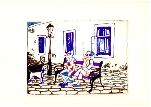 Monika Aladics, Siesta auf dem Hauptplatz in Alt-Buda / Budapest (Siesta at the Main Square in Old-Buda / Budapest), Menschen: Gruppe, Skurril, Gegenwartskunst, Abstrakter Expressionismus