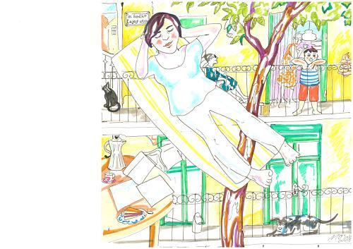 Monika Aladics, Das gelbe Haus / Serie: Tagträume (The Yellow House), Menschen: Kinder, Gefühle: Geborgenheit, Gegenwartskunst