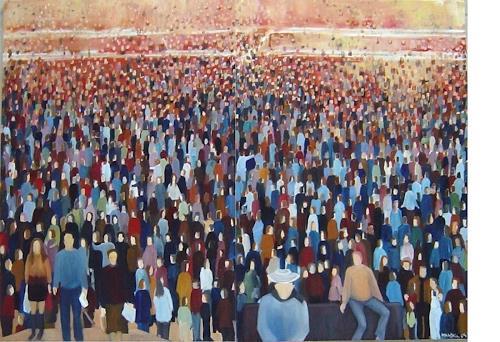 Diana Mandel, Warten, Menschen: Gruppe, Gegenwartskunst, Expressionismus