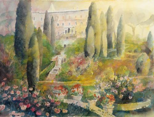Ulrich Hartig, Aux Cyprès de la Villa d'Este, Pflanzen: Bäume, Wohnen: Garten, Abstrakte Kunst, Expressionismus
