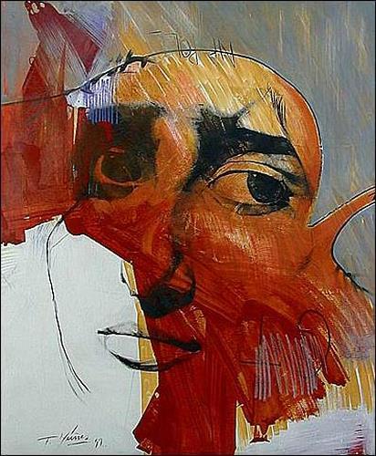 Francisco Núñez, Napoll, Menschen: Gesichter, Menschen: Frau, Abstrakter Expressionismus