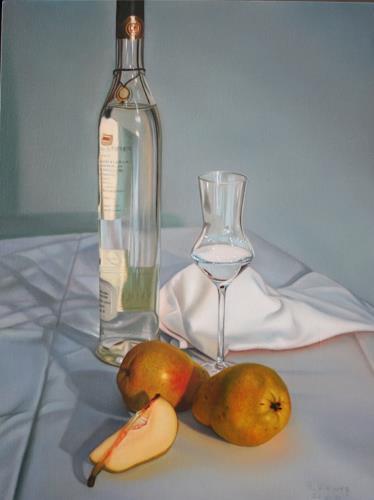 Ralf Vieweg, Birne natur und gebrannt, Stilleben, Fotorealismus, Expressionismus