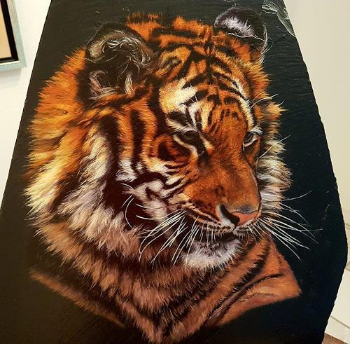 Ralf Vieweg, Tigerportrait, Tiere: Land, Natur: Erde, Realismus
