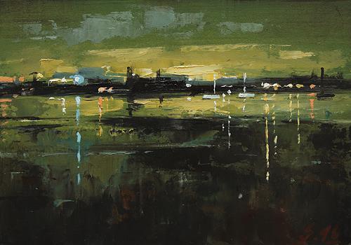 Ralf Scherfose, Nachtstück V, Landschaft: See/Meer, Natur: Wasser, Gegenwartskunst, Expressionismus