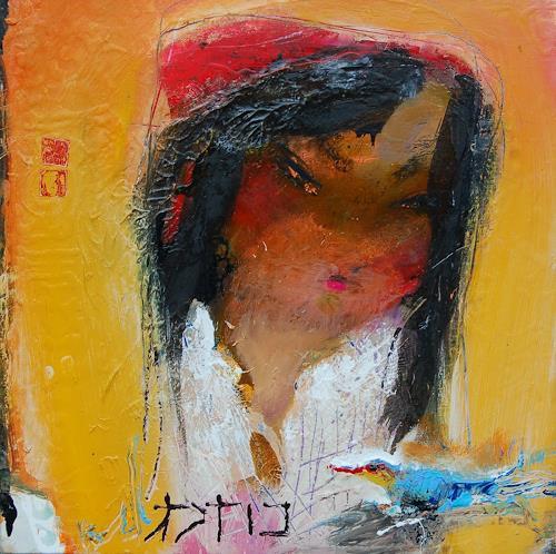 zalans, girl with bird, Abstraktes, Expressionismus, Abstrakter Expressionismus