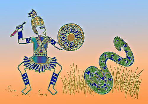 Liona Toussaint, warriors and snake, Mythologie, Fantasie, Action Painting