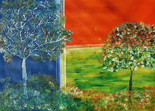 Liona Toussaint, Windy Season, Landschaft: Herbst, Pflanzen: Bäume, Gegenwartskunst