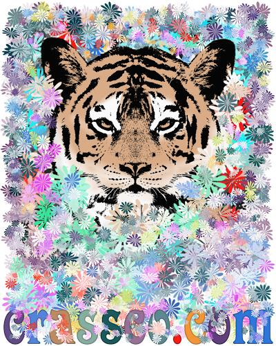 Liona Toussaint, FLOWER TIGER, Tiere: Land, Pflanzen: Blumen, Art Déco