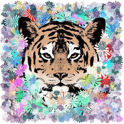 Liona Toussaint, FLOWER TIGER, Tiere: Land, Pflanzen: Blumen, Naive Kunst