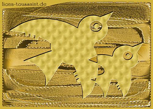 Liona Toussaint, golden birds, Dekoratives, Tiere: Luft, Gegenwartskunst