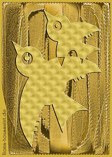 Liona Toussaint, golden birds, Tiere: Luft, Abstraktes, Moderne
