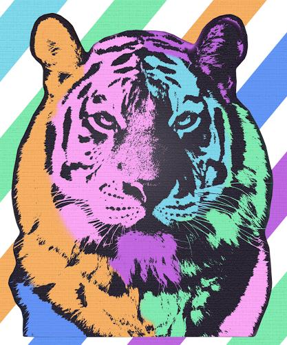 Liona Toussaint, TIGER MULTICOLOR, Tiere: Land, Abstraktes, Pop-Art