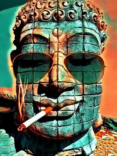 Liona Toussaint, SMOKING BUDDHA, Skurril, Menschen, Art Déco