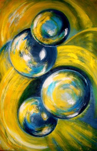 U.v.Sohns, die Magie der Kugeln - 4 gelb, Bewegung, Abstraktes, Abstrakte Kunst