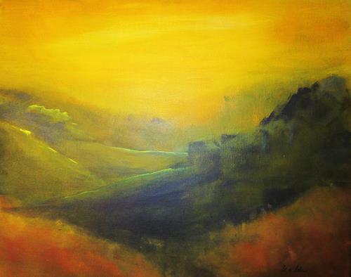 U.v.Sohns, letzte Sonnenstrahlen2014, Landschaft: Hügel, Romantik: Sonnenuntergang, Gegenwartskunst