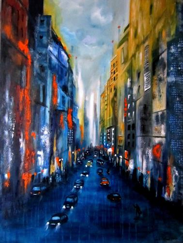 U.v.Sohns, city lights -6-, Diverse Bauten, Diverse Verkehr, Gegenwartskunst, Abstrakter Expressionismus