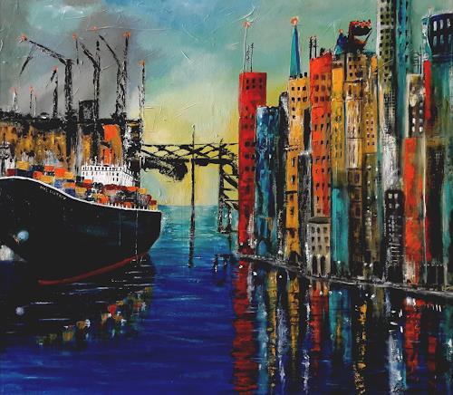 U.v.Sohns, Colored Port Impression, Verkehr: Schiff, Diverse Bauten, Gegenwartskunst, Expressionismus