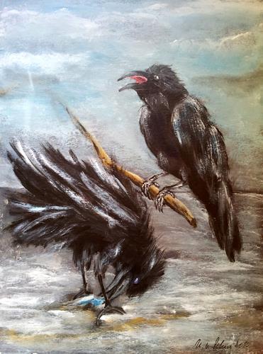 U.v.Sohns, wer zuerst kommt ...., Diverse Tiere, Situationen, expressiver Realismus, Abstrakter Expressionismus