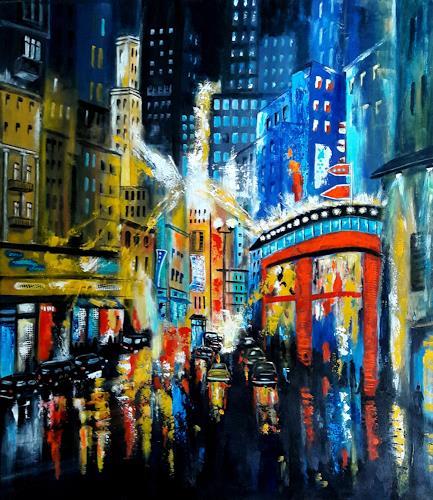 U.v.Sohns, city light -7-, Verkehr, Diverse Bauten, expressiver Realismus, Abstrakter Expressionismus