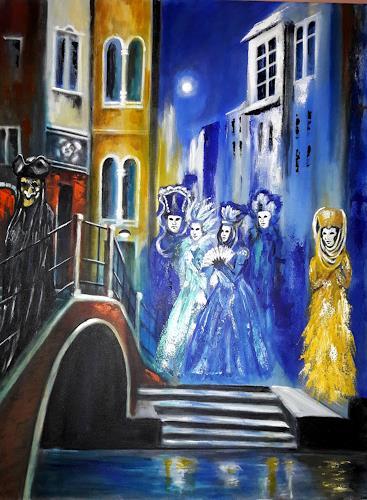 U.v.Sohns, Serie:Carnevale di Venezia -1- Titel: incontro spaventoso, Karneval, Menschen: Gruppe, expressiver Realismus