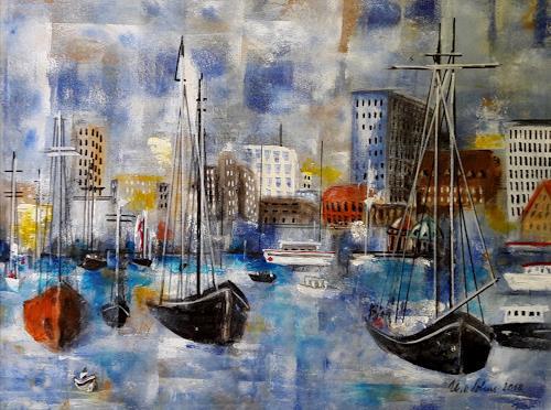 U.v.Sohns, Hafenimpression, Landschaft: See/Meer, Diverse Bauten, expressiver Realismus, Expressionismus