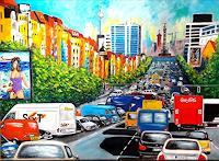 U.v.Sohns-Situationen-Verkehr-Auto-Moderne-expressiver-Realismus