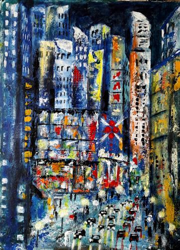 U.v.Sohns, City lights -9-, Verkehr: Auto, Diverse Bauten, expressiver Realismus