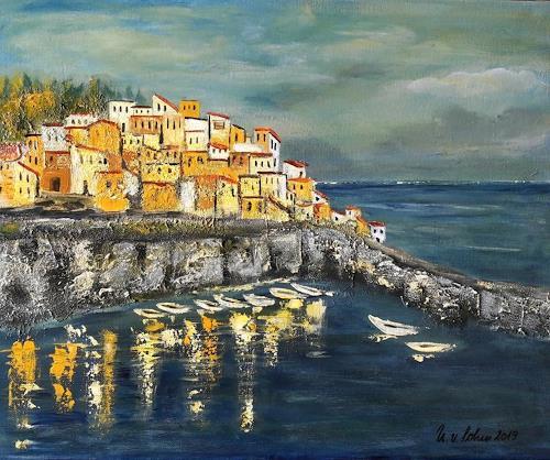 U.v.Sohns, an der Küste Liguriens, Natur: Diverse, Natur: Wasser, expressiver Realismus