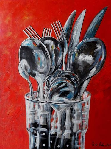 U.v.Sohns, posate -4-, Essen, Stilleben, expressiver Realismus