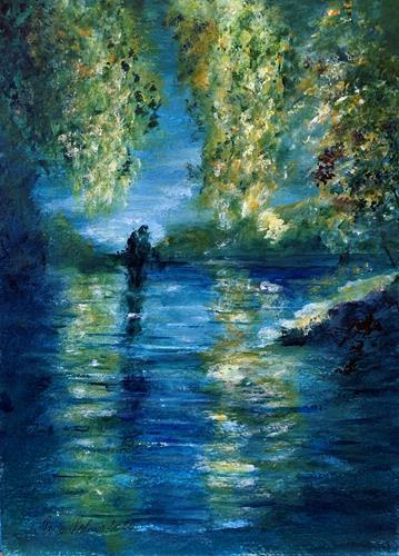 U.v.Sohns, Abendstimmung am See, Landschaft: See/Meer, Diverse Romantik, Impressionismus