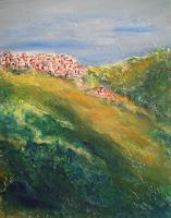 U.v.Sohns-Landschaft-Berge-Wohnen-Dorf-Moderne-Abstrakte-Kunst