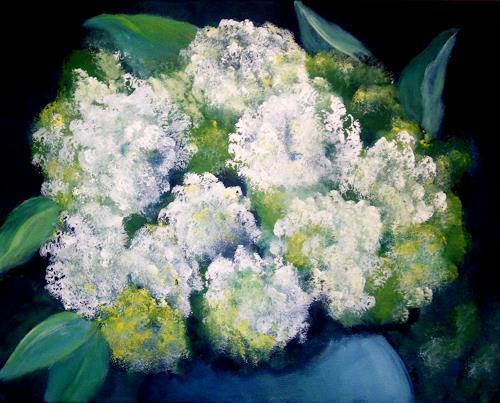 U.v.Sohns, weisse Hortensien, Pflanzen: Blumen, Dekoratives, Impressionismus