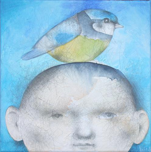 Natalja Lebsak, Meise, Menschen: Kinder, Tiere: Luft, Gegenwartskunst, Abstrakter Expressionismus