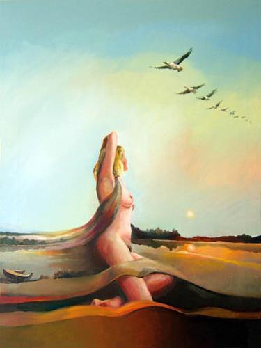 Gregor Ziolkowski, FOUR SEASONS - AUTUMN, Landschaft: Herbst, Akt/Erotik: Akt Frau, Surrealismus
