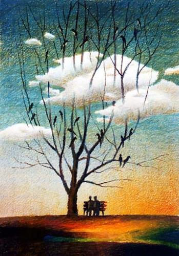 Gregor Ziolkowski, SILENT EVENING, Gefühle: Geborgenheit, Menschen: Paare, Surrealismus