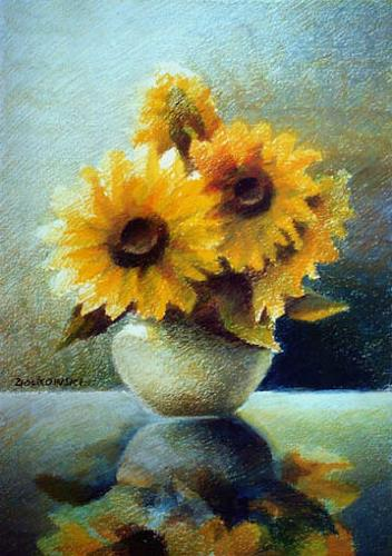 Gregor Ziolkowski, SUNFLOWERS ON THE GLASS-TABLE, Pflanzen: Blumen, Stilleben, Impressionismus