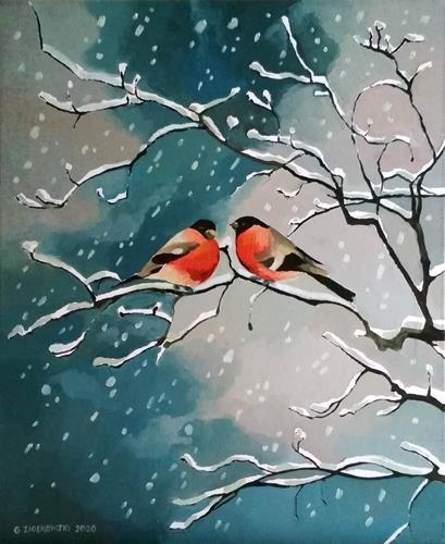 Gregor Ziolkowski, BULLFINCHES-2, Landschaft: Winter, Tiere: Luft, Impressionismus