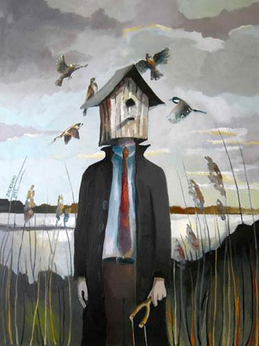 Gregor Ziolkowski, VOGELFAENGER, Menschen: Mann, Natur: Diverse, Surrealismus, Abstrakter Expressionismus