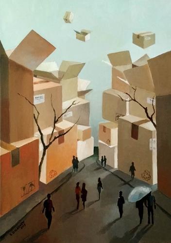 Gregor Ziolkowski, AMAZON CITY, Diverse Landschaften, Menschen: Gruppe, Surrealismus, Abstrakter Expressionismus