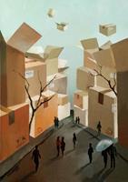 Gregor-Ziolkowski-Diverse-Landschaften-Menschen-Gruppe-Moderne-Avantgarde-Surrealismus