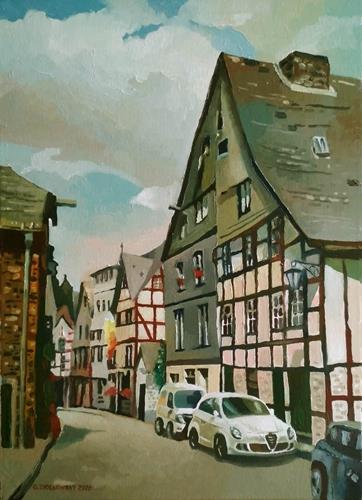 Gregor Ziolkowski, STREET IN MONSCHAU, Diverse Landschaften, Bauten: Haus, Impressionismus