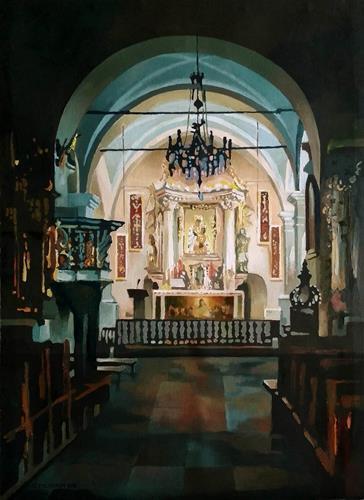 Gregor Ziolkowski, CHURCH IN KROSCIENKO, Diverse Landschaften, Bauten: Kirchen, Impressionismus, Expressionismus